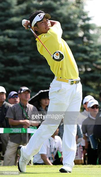 Amateur Hideki Matsuyama hits a tee shot on the first hole during the final round of the Sun Chlorella Classic at Otaru Country Club on July 31 2011...