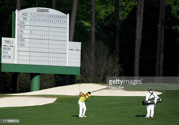 Amateur Hideki Matsuyama of Japan hits a shot on the third hole during the second round of the 2011 Masters Tournament at Augusta National Golf Club...