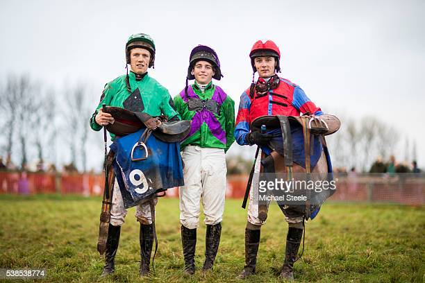 Amateur jockeys from Sandhill Nick Lawton Stefan Kirwan and Sean Houlihan pose for a portrait during the Chipley Park Point to Point event at...