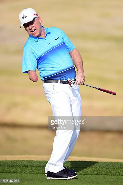 Amateur Laurent Hurtubise reacts to a missed putt on the 12th hole during the first round of the CareerBuilder Challenge In Partnership With The...