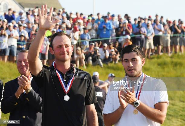Amateur Matt Parziale of the United States and Amateur Luis Gagne of Costa Rica celebrate after winning the lowamateur medal after the final round of...