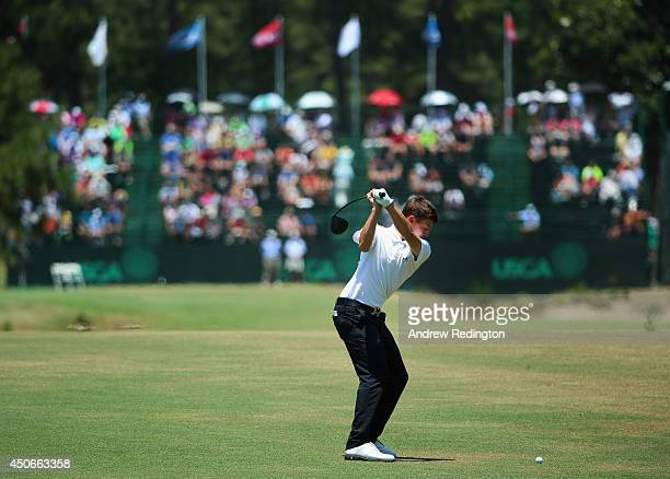 Amateur Matthew Fitzpatrick of England hits his second shot on the 16th hole during the final round of the 114th US Open at Pinehurst Resort Country...