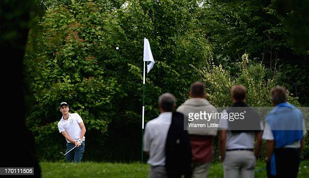 Amateur Matthias Schwab of Austria chips onto the fifth green during the second round of the Lyoness Open powered by Greenfinity at Diamond Country...
