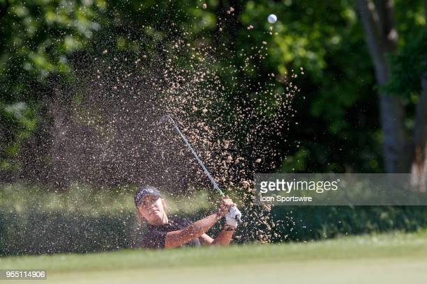 Amateur Meagan Winans hits the pin after blasting out of the green side bunker during the LPGA Volunteers of America Texas Classic on May 5 2018 at...