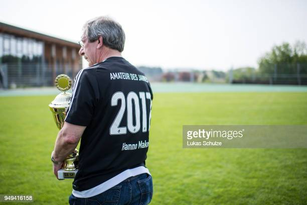 Amateur Of the Year Hanno Makel holds the trophy on April 21 2018 in Weilburg Germany