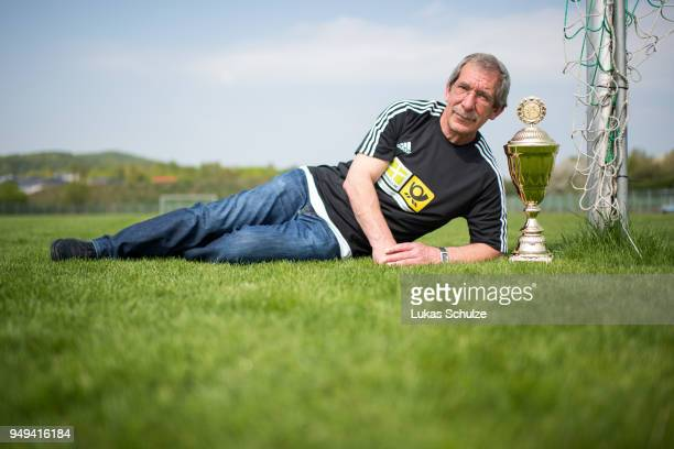 Amateur Of the Year Hanno Makel lies next to the trophy on April 21 2018 in Weilburg Germany