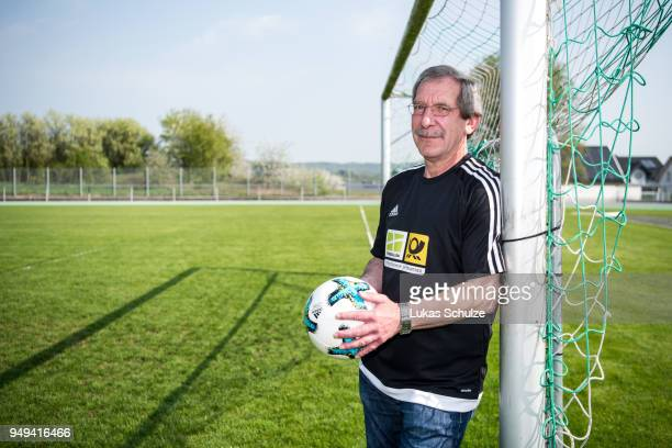 Amateur Of the Year Hanno Makel poses on the goal on April 21 2018 in Weilburg Germany