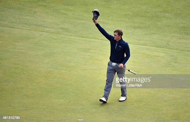 Amateur Paul Dunne of Ireland acknowledges the crowd on the 18th green during the third round of the 144th Open Championship at The Old Course on...