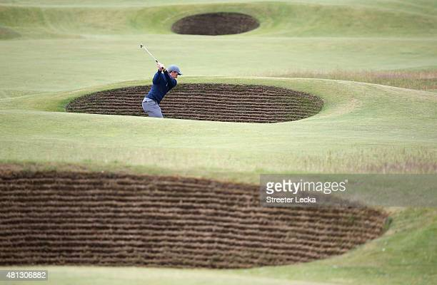 Amateur Paul Dunne of Ireland plays out of a bunker on the 5th hole during the third round of the 144th Open Championship at The Old Course on July...