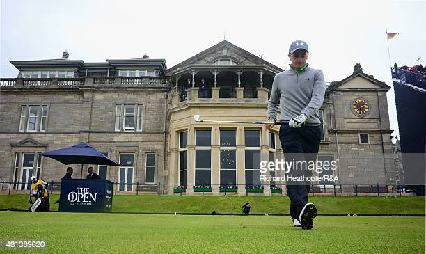 Amateur Paul Dunne of Ireland walks off the first tee during the final round of the 144th Open Championship at The Old Course on July 20 2015 in St...