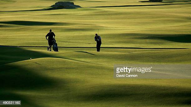Amateur players finishing their round on the 18th hole during the first practise round of the 2015 Alfred Dunhill Links Championship at The Old...