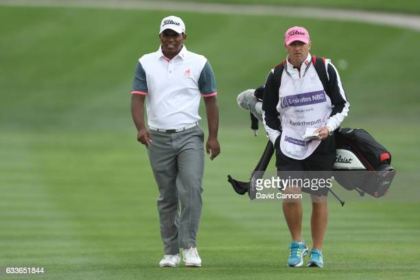 Amateur Rayhan Thomas of India walks down the 1st hole during the second round of the Omega Dubai Desert Classic at Emirates Golf Club on February 3...