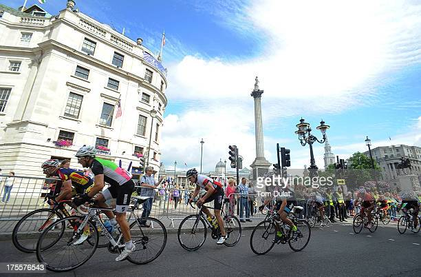 Amateur riders on their way to crossing the finish line during the Prudential RideLondonSurrey Classic race on August 4 2013 in London England