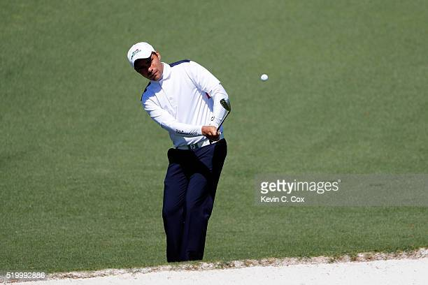 Amateur Romain Langasque of France chips to the second green during the third round of the 2016 Masters Tournament at Augusta National Golf Club on...