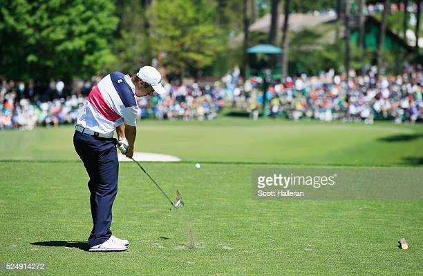 Amateur Romain Langasque of France hits his tee shot on the sixth hole during the third round of the 2016 Masters Tournament at the Augusta National...