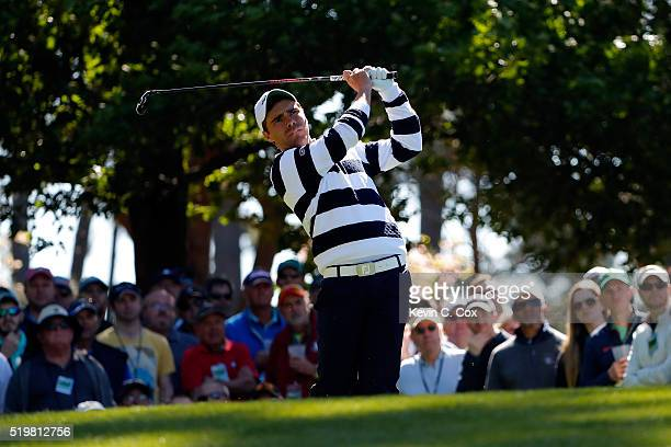 Amateur Romain Langasque of France plays his shot from the fourth tee during the second round of the 2016 Masters Tournament at Augusta National Golf...