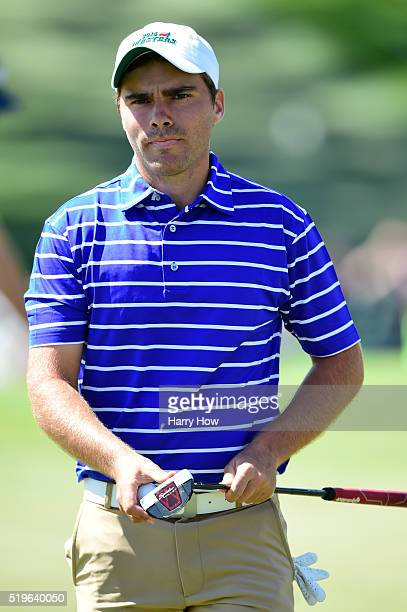 Amateur Romain Langasque of France reacts after putting for par on the ninth green during the first round of the 2016 Masters Tournament at Augusta...