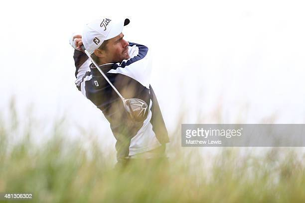 Amateur Romain Langasque of France tees off on the 6th hole during the third round of the 144th Open Championship at The Old Course on July 19 2015...