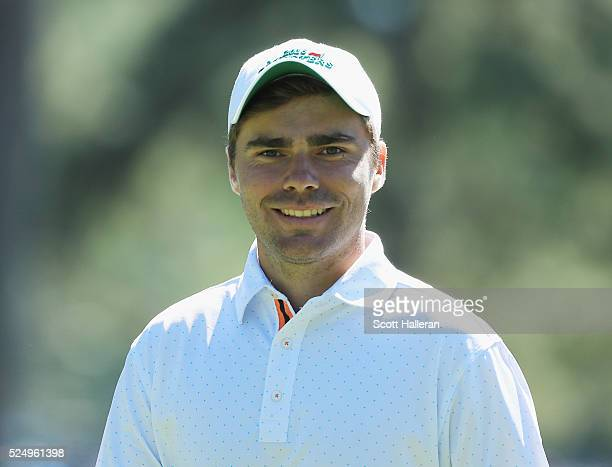 Amateur Romain Langasque of France walks to a tee during the second round of the 2016 Masters Tournament at the Augusta National Golf Club on April 8...