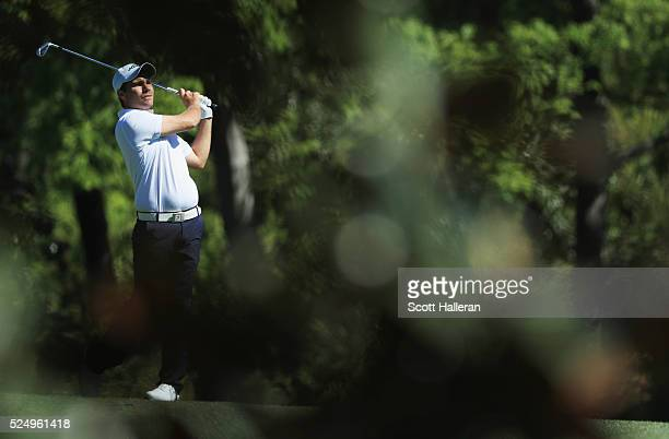 Amateur Romain Langasque of France watches his second shot on the fifth hole during the second round of the 2016 Masters Tournament at the Augusta...