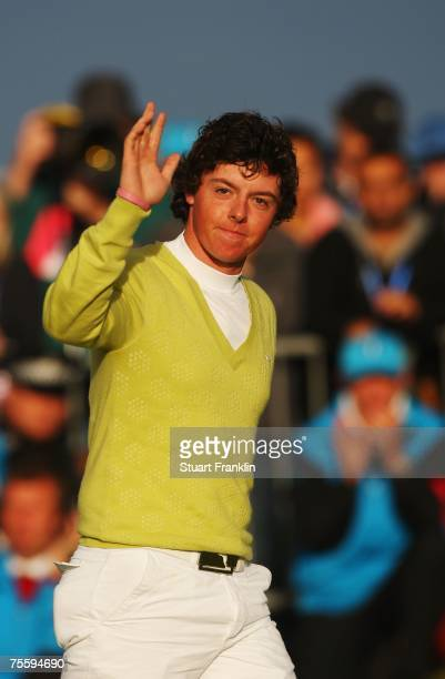 Amateur Rory McIlroy of Northern Ireland waves during the presentation of his silver medal at The 136th Open Championship at the Carnoustie Golf Club...