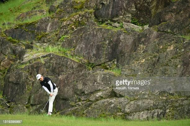Amateur Tsubasa Kajitani of Japan hits her third shot on the 16th hole during the first round of the Chukyo TV Bridgestone Ladies Open at Chukyo Golf...