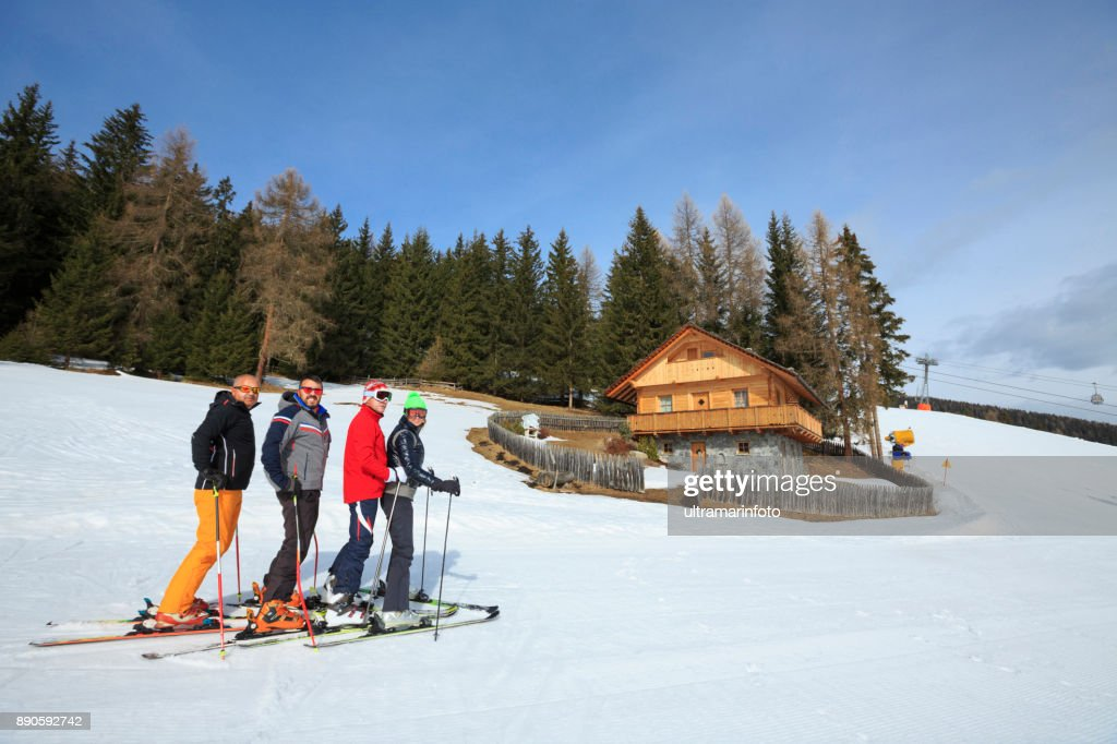 72ca1e4700e2 Amateur Winter Sports alpine skiing. Group of skiers. Best friends men and  women