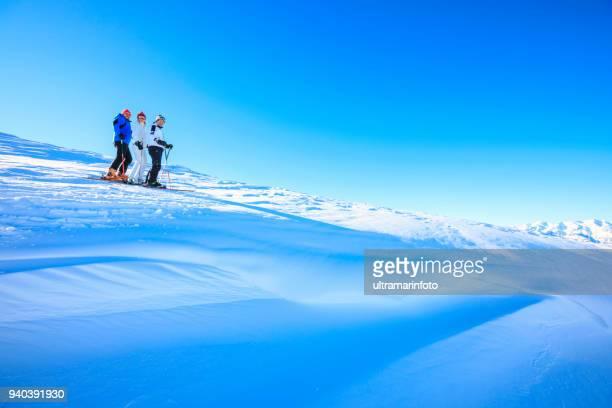 アマチュア ウィンター スポーツ アルペン スキー。スキーヤーのグループ。最高の友人男性と女性、日当たりの良いスキー場で楽しむ雪のスキーヤー。 雪に覆われた高山の風景。 イタリア アルプス ドロミテ イタリア、ヨーロッパの山。マドンナ ・ ディ ・ カンピーリョ。 - マドンナディカンピリオ ストックフォトと画像