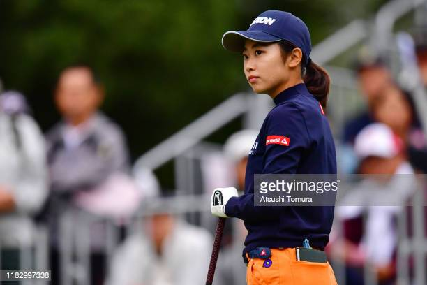 Amateur Yuka Yasuda is seen on the 10th tee during the first round of the Nobuta Group Masters GC Ladies at Masters Golf Club on October 24 2019 in...