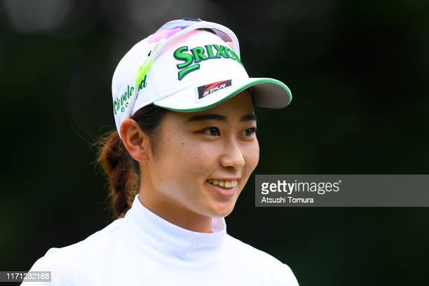 Amateur Yuka Yasuda of Japan celebrates the birdie on the 8th green during the third round of the Nitori Ladies at Otaru Country Club on August 31...