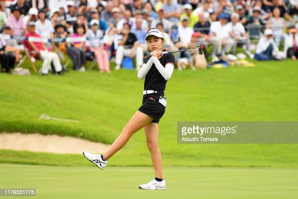 Amateur Yuka Yasuda of Japan reacts after a putt on the 18th green during the final round of the Descente Ladies Tokai Classic at Shin Minami Aichi...