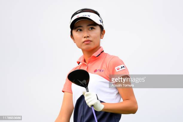 Amateur Yuka Yasuda of Japan reacts after her tee shot on the 11th hole during the first round of the Japan Women's Open Championship at Cocopa...