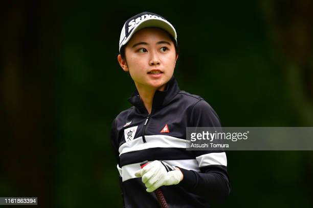 Amateur Yuka Yasuda of Japan reacts after her tee shot on the 3rd hole during the final round of the Nippon Ham Ladies Classic at Katsura Golf Club...
