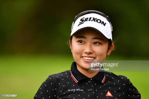 Amateur Yuka Yasuda of Japan smiles after her tee shot on the 5th hole during the final round of the Descente Ladies Tokai Classic at Shin Minami...