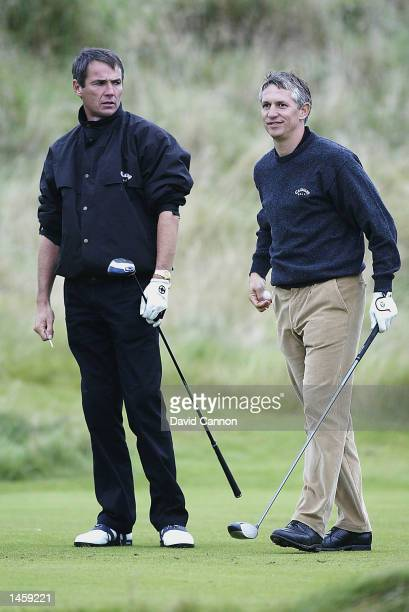 Amateurs Alan Hansen and Gary Lineker during the second round of the Dunhill Links Championship at Kingsbarns Golf Club, St Andrews, Scotland on...