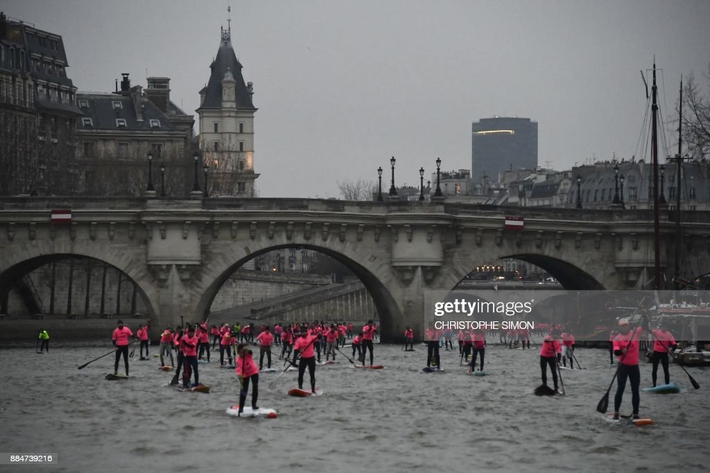 Amateurs And Professionals Take Part In The Nautic Sup Paris Crossing Stand Up Paddle Race Along