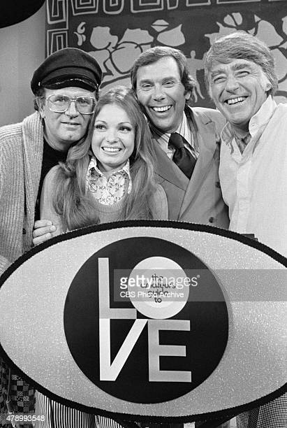 Amateur's Guide to Love game show featuring celebrity guests Charles Nelson Reilly Karen Valentine and Peter Lawford In center wearing tie show host...
