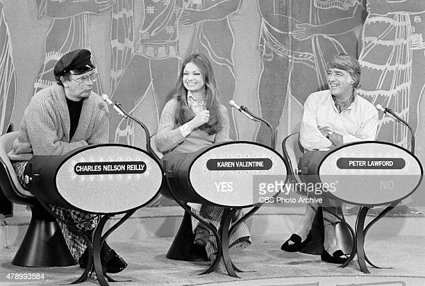 Amateur's Guide to Love game show featuring celebrity guests Charles Nelson Reilly Karen Valentine and Peter Lawford Image dated March 26 1972
