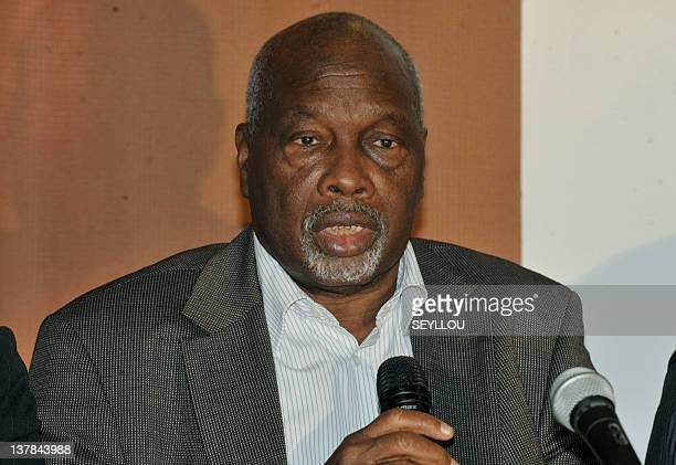 Amath Dansokho one of the leaders of the opposition 'Mouvement du 23 Juin' speaks during a press conference after a meeting by several of the group's...
