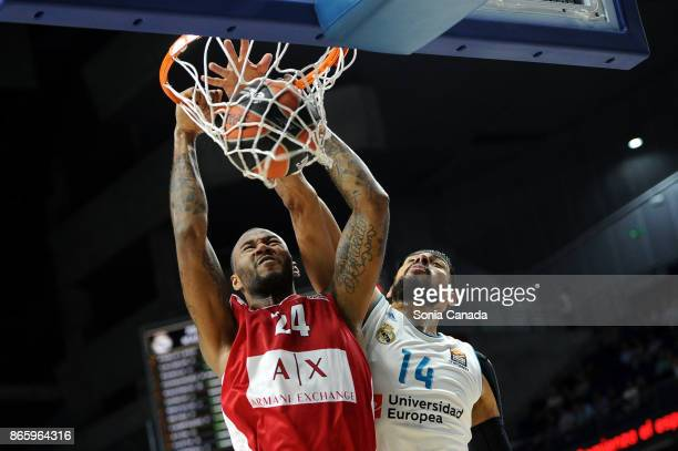 Amath M'Baye #24 forward of AX Armani Exchange Olimpia Milan and Gustavo Ayon #14 center of Real Madrid during the 2017/2018 Turkish Airlines...