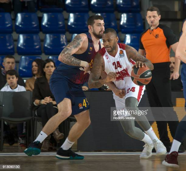 Amath MÕBaye #24 of AX Armani Exchange Olimpia Milan competes with Ante Tomic #44 of FC Barcelona Lassa during the 2017/2018 Turkish Airlines...