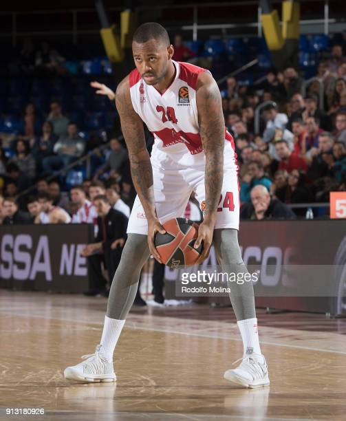 Amath MÕBaye #24 of AX Armani Exchange Olimpia Milan in action during the 2017/2018 Turkish Airlines EuroLeague Regular Season Round 21 game between...