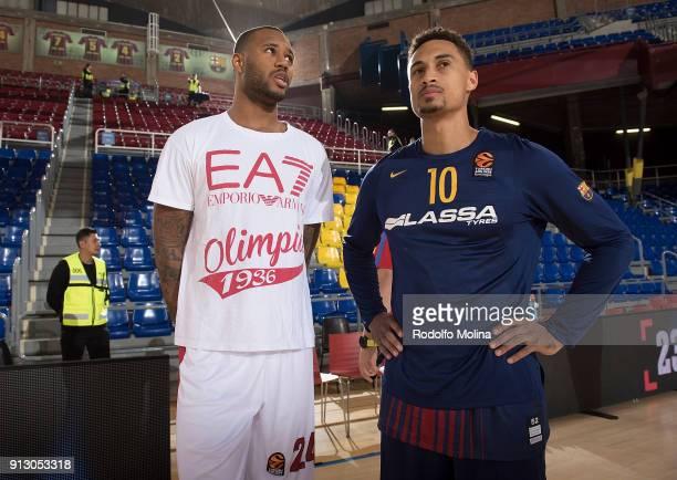 Amath MÕBaye #24 of AX Armani Exchange Olimpia Milan talking to Edwin Jackson #10 of FC Barcelona Lassa prior the 2017/2018 Turkish Airlines...