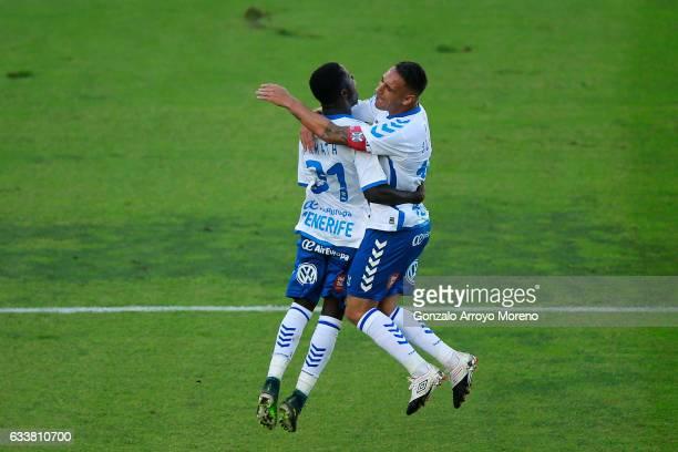 Amath Ndiaye Diedhiou of Tenerife SAD celebrates scoring their opening goal with teammate Jesus Manuel Santana alias Suso NT during the La Liga...