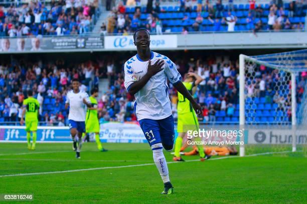 Amath Ndiaye Diedhiouof Tenerife SAD celebrates scoring their second goal during the La Liga 2 match between CD Tenerife and Elche at Estadio...