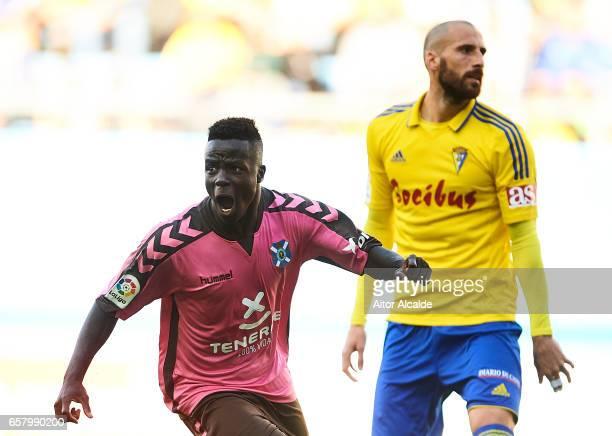 Amath Ndiaye of CD Tenerife celebrates after scoring during La Liga Segunda Division between Cadiz CF and CD Tenerife at Estacio Ramon de Carranza on...