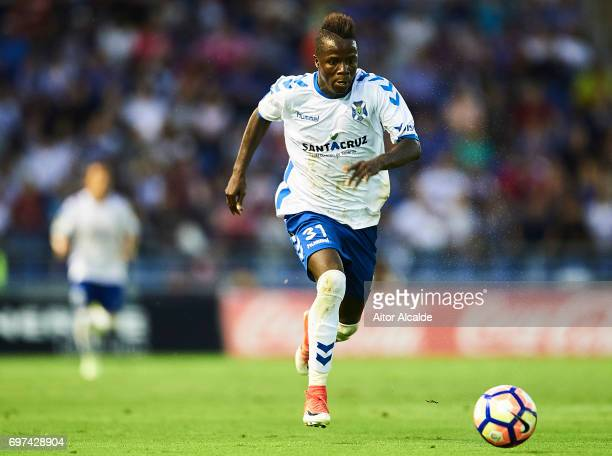 Amath Ndiaye of CD Tenerife in action during La Liga 2 play off round between CD Tenerife at Heliodoro Rodriguez Lopez Stadium on June 18 2017 in...