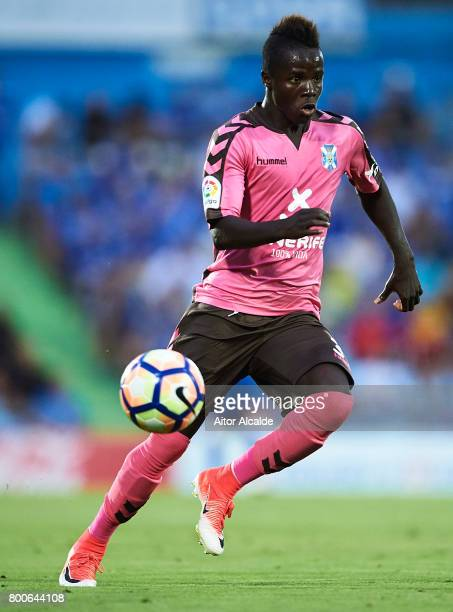 Amath Ndiaye of CD Tenerife in action during La Liga 2 play off round between Getafe and CD Tenerife at Coliseum Alfonso Perez Stadium on June 24...