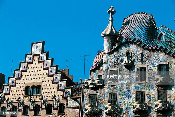 Amatller House by Josep Puig i Cadafalche and Batllo House by Antoni Gaudi Barcelona Catalonia Spain