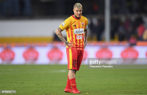 Amato Ciciretti of Benevento Calcio in action during the Serie A match between Benevento Calcio and US Sassuolo at Stadio Ciro Vigorito on November...